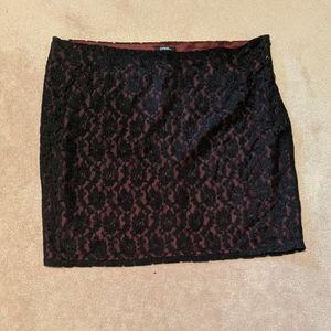 Burgundy and Black Lace Mini skirt